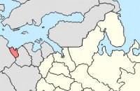 Калининградская область (помечена красным) отделена физически от основной территории России (помечена жёлтым)