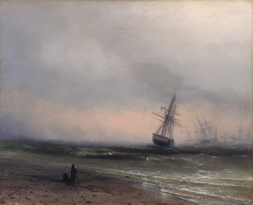 """""""Морской пейзаж в Крыму"""", Иван Айвазовский, 1866 год"""