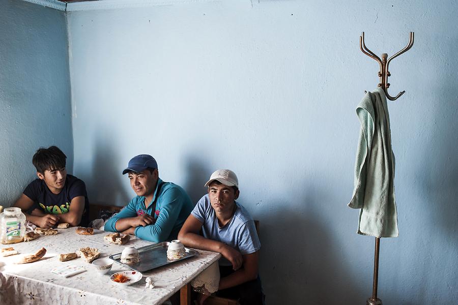 Пересев в большой автобус, пассажиры сделали остановку у придорожного ресторана у населенного пункта Коктерек в Казахстане.