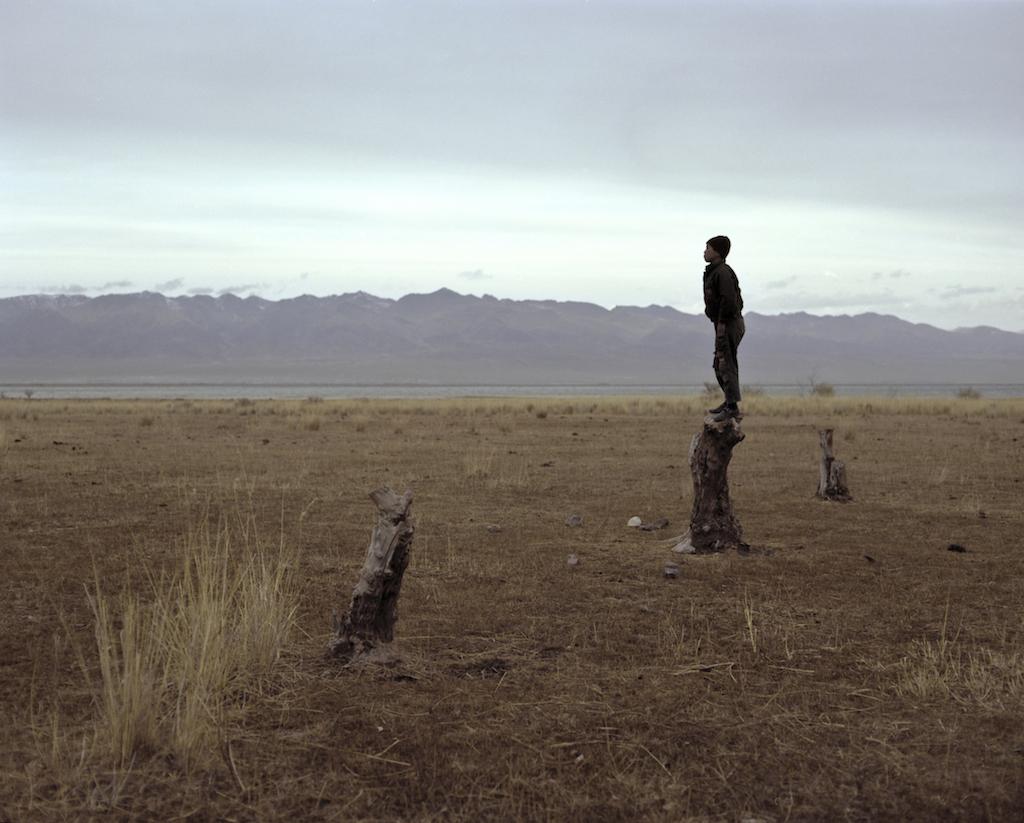 Стоящий на пне около озера Иссык-Куль мальчик-пастух наблюдает за стадом коров. Фотография Федора Савинцева / Salt Images, 2013.