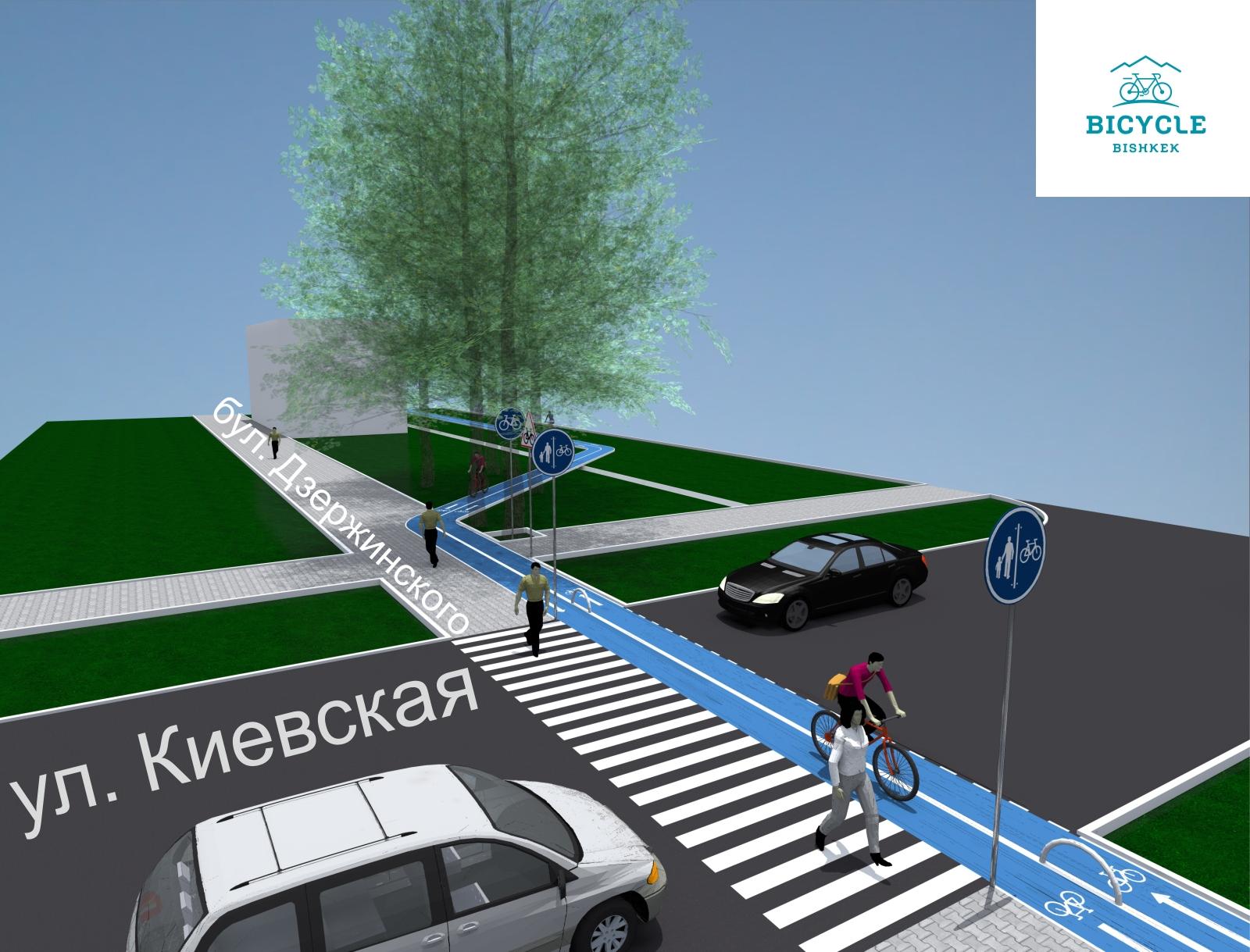 Пересечение улицы Киевская и бульвара Эркиндик.