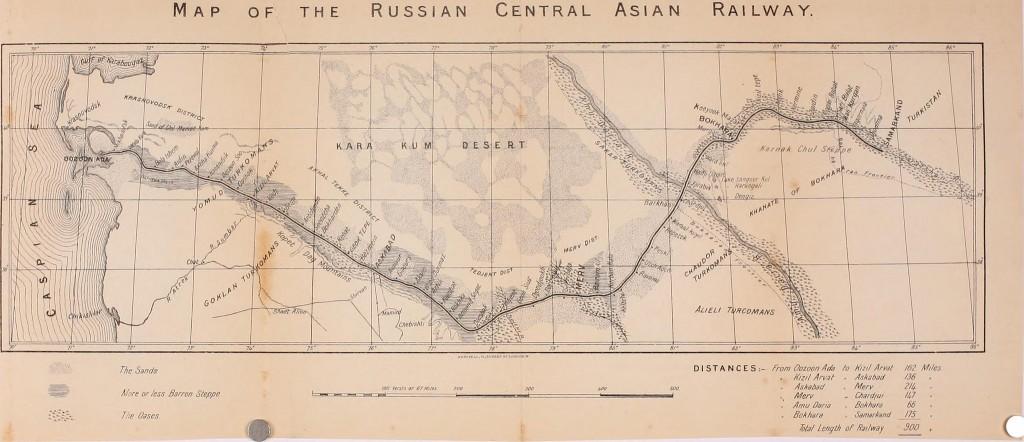 Центральноазиатская железная дорога. Карта из книги Джорджа Добсона, который также путешествовал по Центральной Азии в 1890-е годы.
