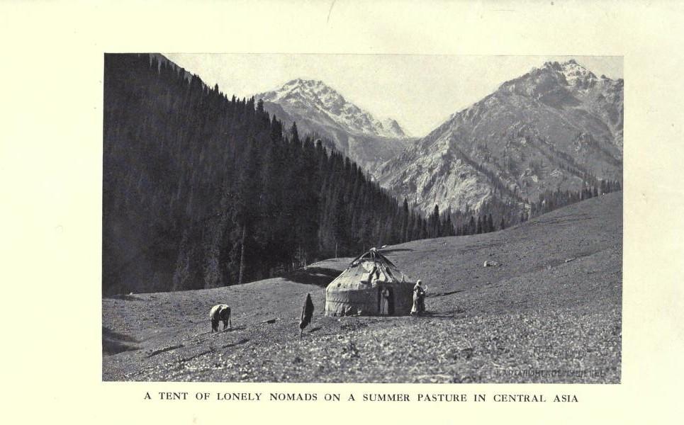 Юрта одиноких кочевников на летнем пастбище в Центральной Азии.