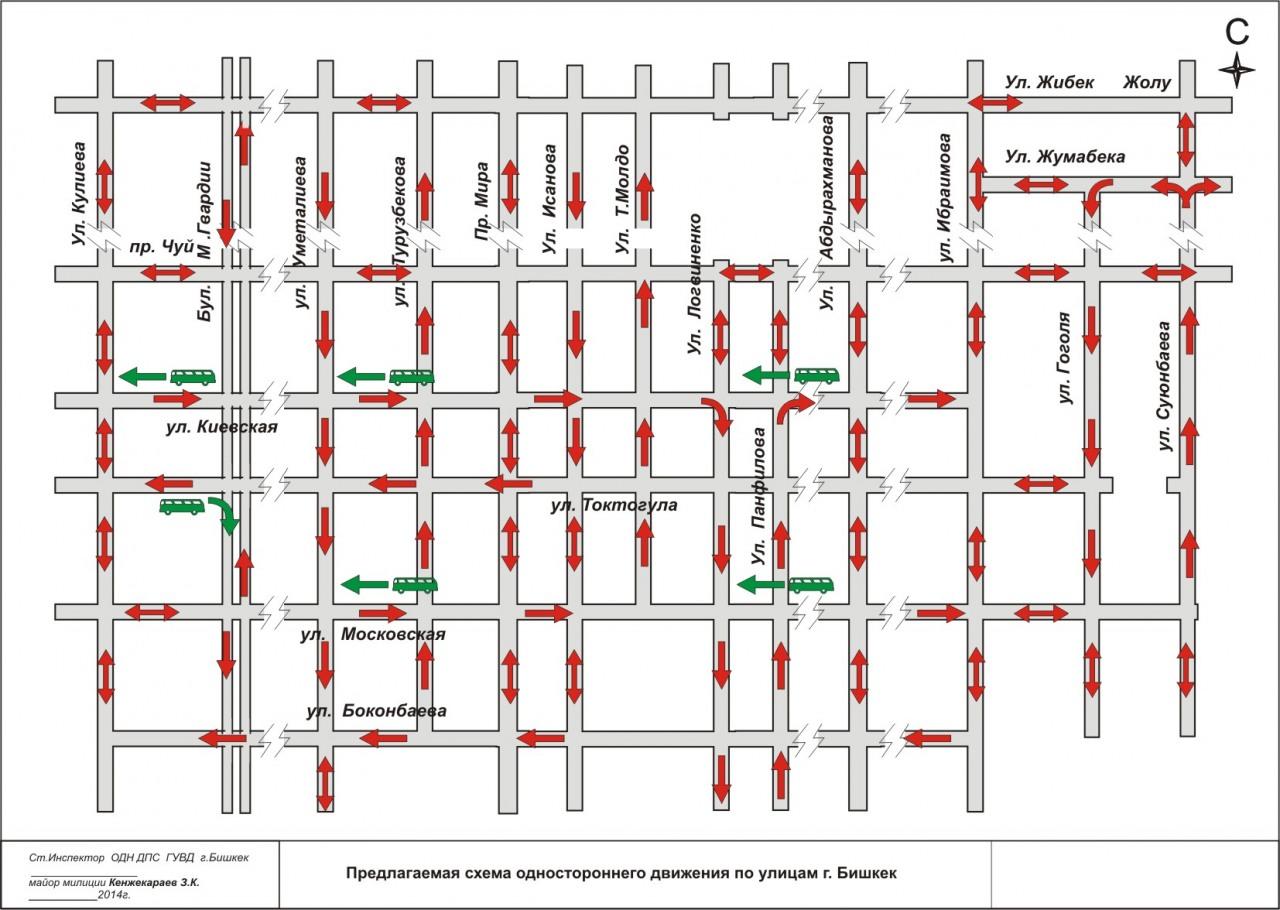Карта одностороннего движения в Бишкеке