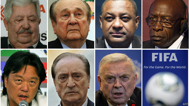 """Действующие функционеры ФИФА, которые обвиняются властми США в """"коррупции""""."""