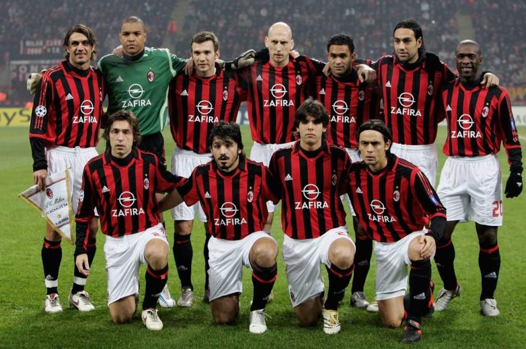 "Состав футбольного клуба ""Милан"" в середине 2000-х."