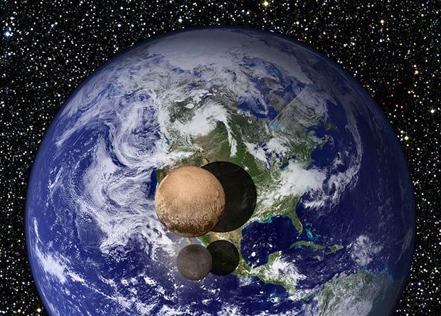 Размеры Плутона и Харона относительно размеров Земли