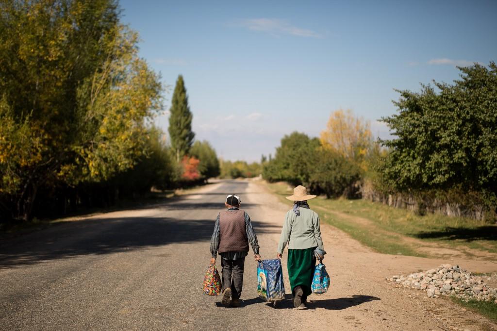 Жети-Огуз, Кыргызстан: Вниз по главной улице. Я никогда не узнаю, что было в этой сумке