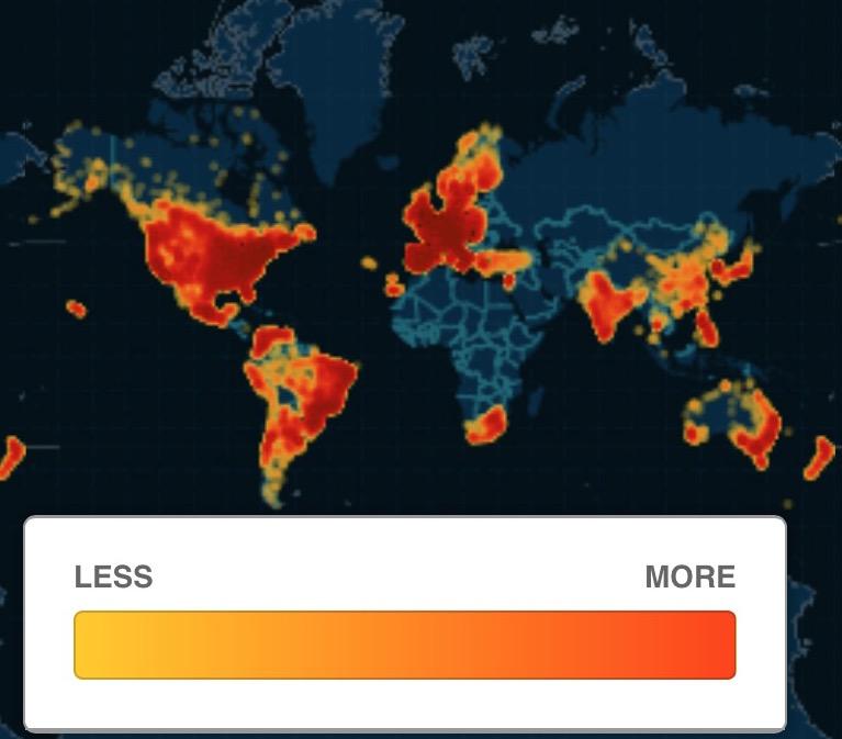 Концентрация пользователей Ashley Madison по всему миру