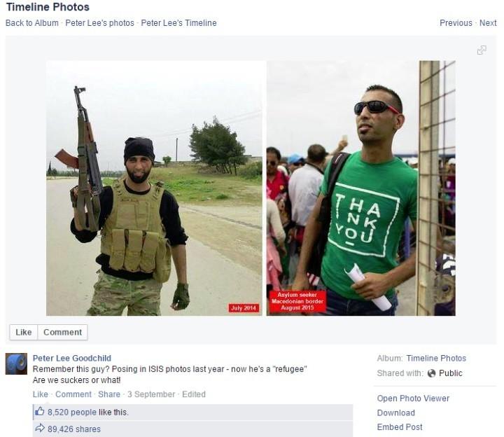 «Помните этого парня? В прошлом году он позировал в ИГИЛе, а сейчас он «беженец». Мы лохи или как?»