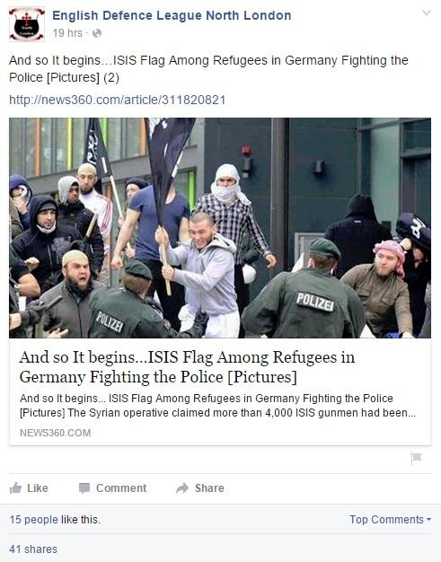 «Вот и началось… Флаг ИГИЛа в руках беженцев, борющихся с полицией»