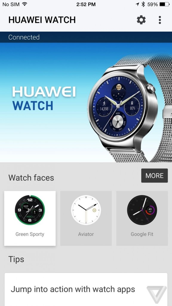 Пример приложения часов Huawei Watch на iPhone