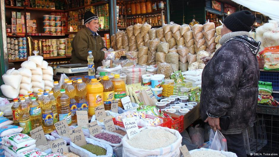 Продуктовые ряды на Ошском рынке