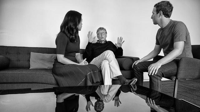 Слева направо: Присцилла Чан, Билл Гейтс и Марк Цукерберг