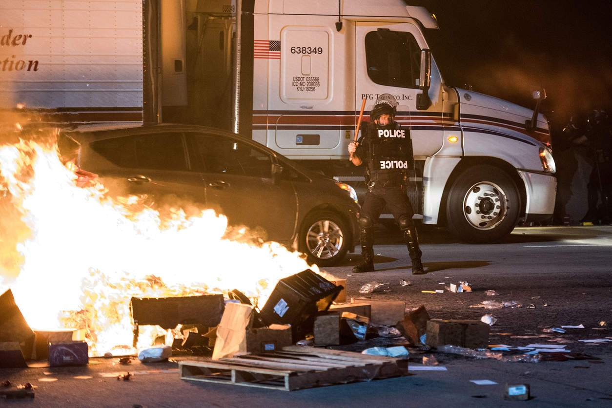 Беспорядки в городе Шарлот. Фото: Sean Rayford