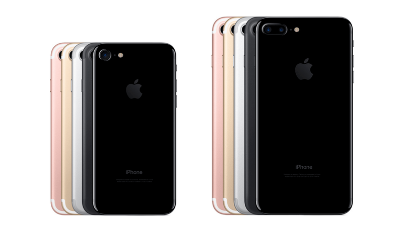 Новые расцветки iPhone 7 (слева) и iPhone 7 Plus (справа). Глянцевое покрытие получила лишь версию jet black, остальные идут в привычном алюминиевом корпусе.