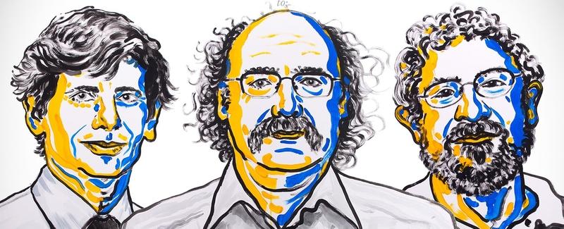 Слева направо: Дэвид Таулесс, Дункан Халдейн и Майкл Костерлиц