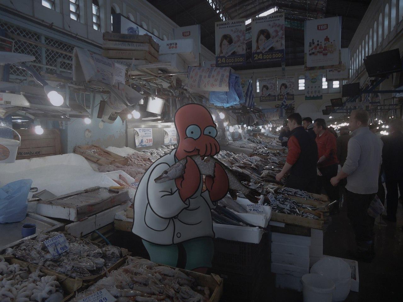 Доктор Зойдберг на рыбном рынке.