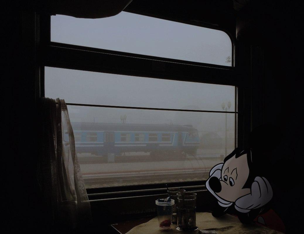 Микки грустит в поезде.