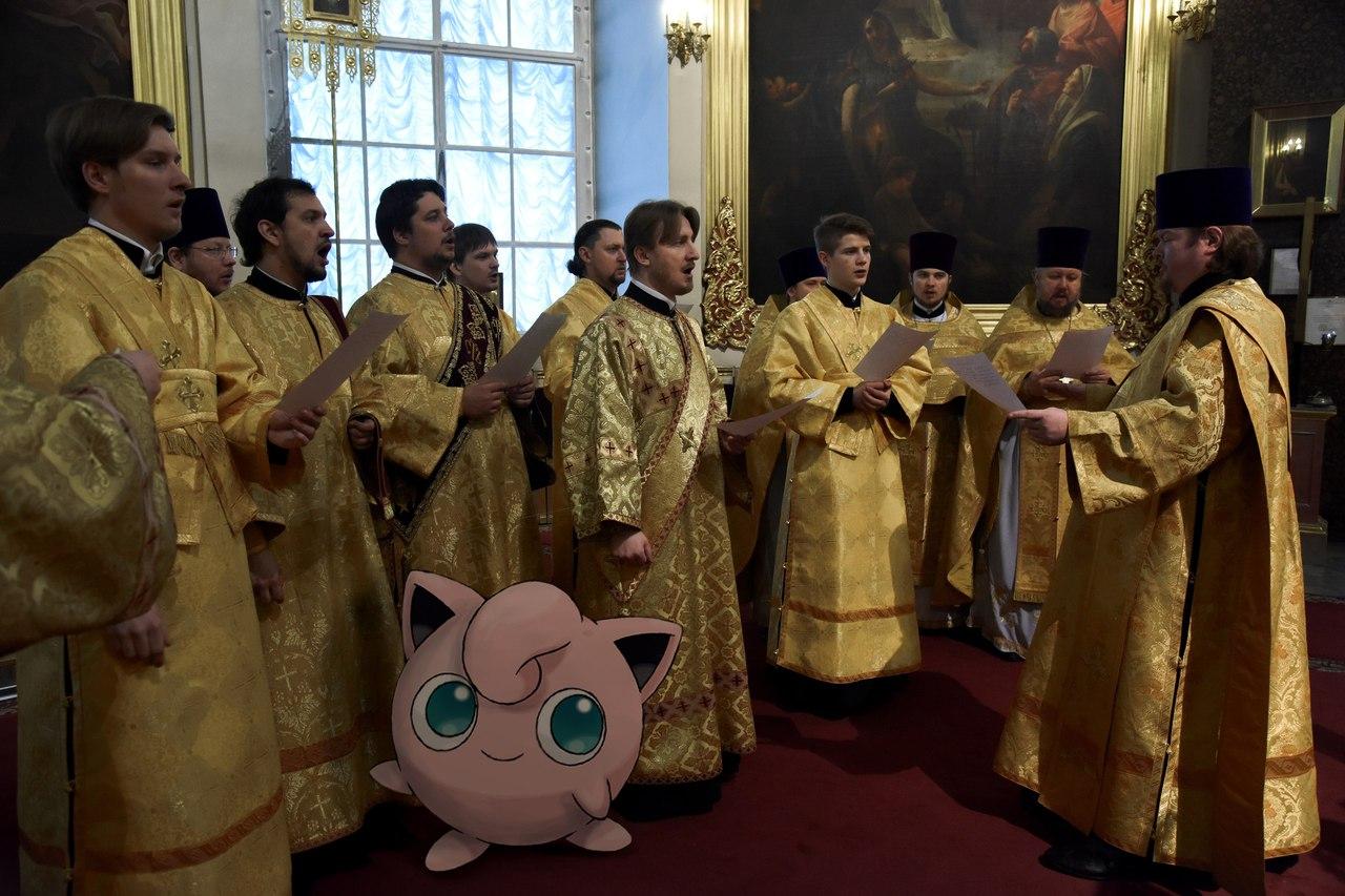Джигглипуф поет в церковном хоре.