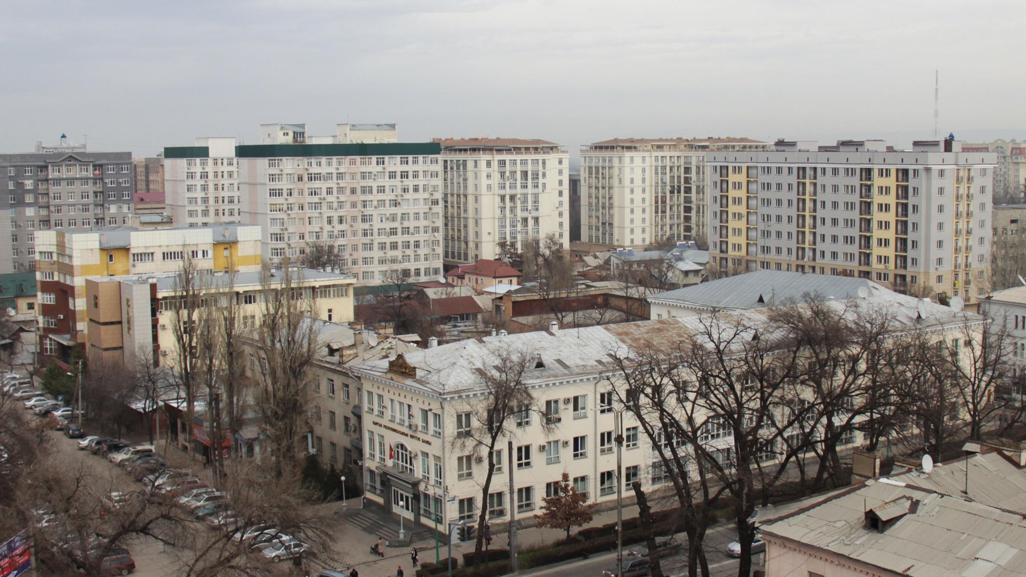 Жаль, что многоквартирные дома Бишкека не отличаются изяществом и красотой. Сверху они выглядят совсем как пластиковые поделки.