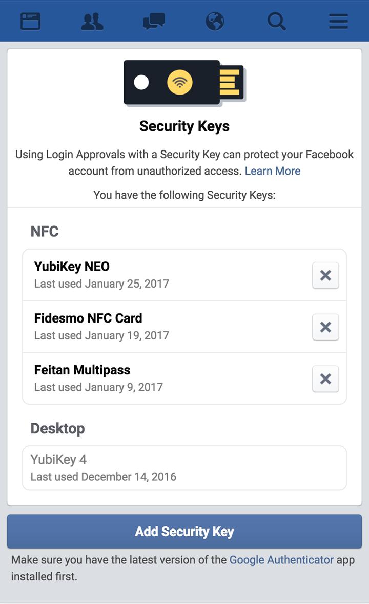фейсбук электронный ключ