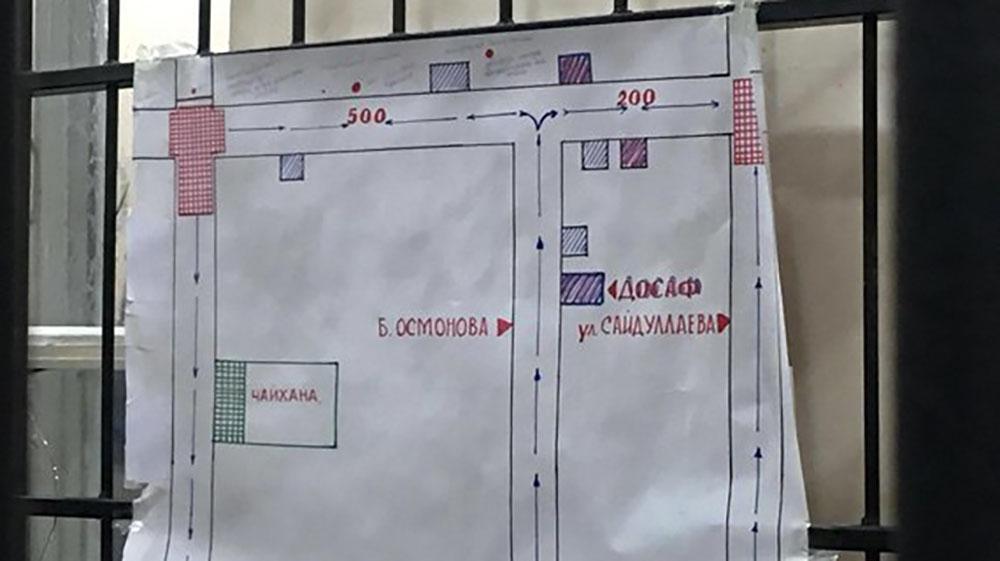 Схема объектов и улиц, где происходили вышеописанные события.  Схему нарисовал правозащитник Аскаров.